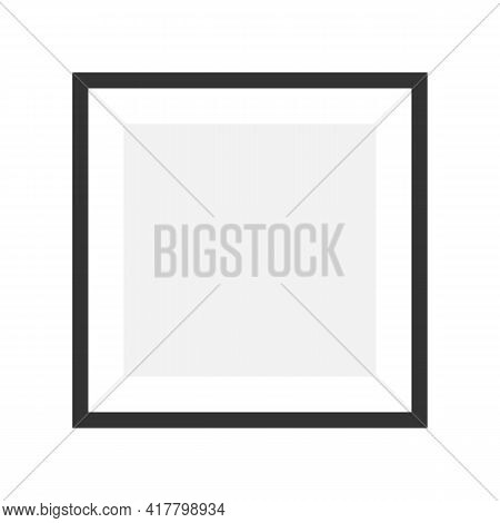Photo Frame Mockup. Black Square Poster. White Blank. Empty Interior Border. Wall Painting. Picture
