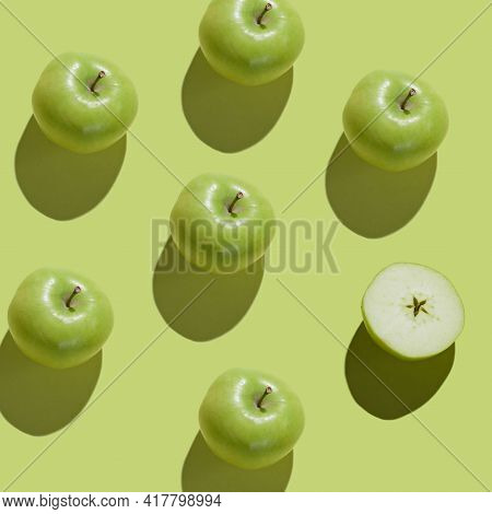 Pattern With Fruits. Tropical Abstract Background. Fresh Green Apple On Green Background. Fruits Pat