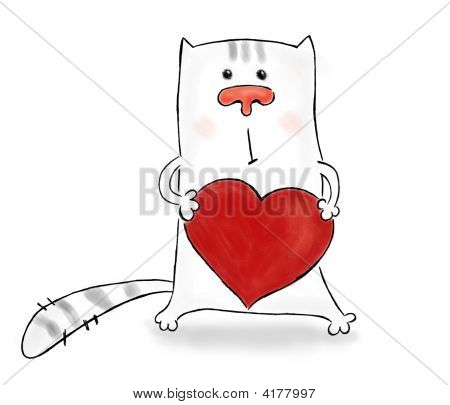cartoon picture of a cat embracing a big heart poster