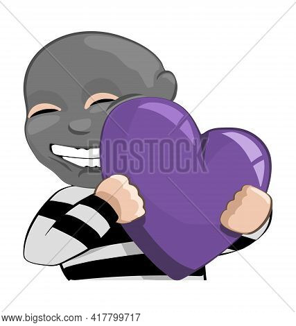Robber With Ski Mask - Hugging Purple Heart - Love Emote - Vector Emoticon Isolated