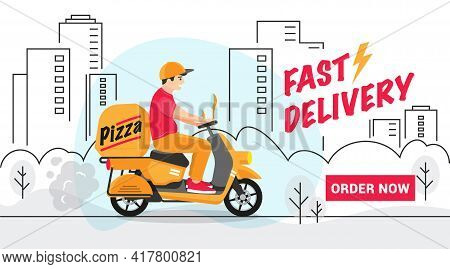 Scooter Delivery Man Delivers A Parcel In The City Along The Route, Man Is In A Hurry To Fast Delive