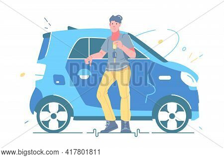 Man Holding Keys From New Car Vector Illustration. Guy Standing Near Automobile Flat Style. Vehicle