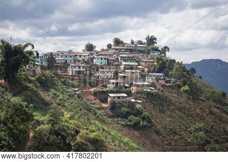 A Small Picturesque Hillside Village While Hiking From Kalaw To Inle Lake, Shan State, Myanmar