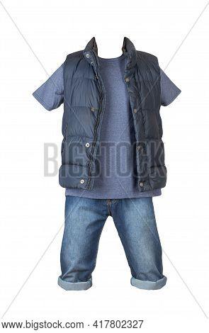 Denim Dark Blue Shorts,blue T-shirt  And Dark Blue Jacket Without Sleeves Isolated On White Backgrou
