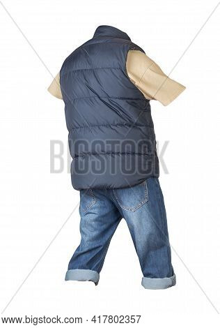 Denim Dark Blue Shorts,biege T-shirt  And Dark Blue Jacket Without Sleeves Isolated On White Backgro