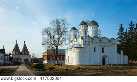 Cathedral of the Deposition of the Robe (Rizopolozhenskiy Monastery) in Suzdal in spring middle april, Russian heritage architecture, Golden Ring of Russia
