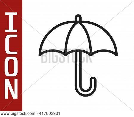 Black Line Classic Elegant Opened Umbrella Icon Isolated On White Background. Rain Protection Symbol