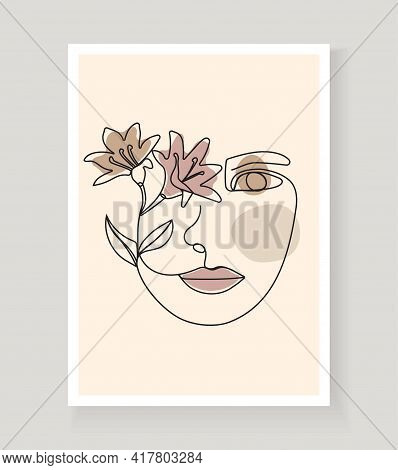 Boho Women's Faces On Abstract Wall Art Vector. Surreal Portrait, Girl Face In Continuous Line Style