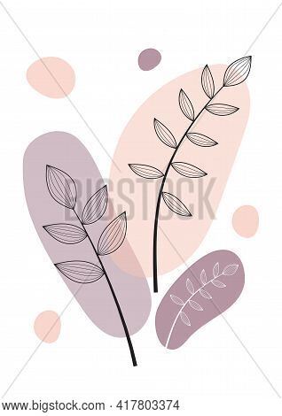 Abstract One Line Art Leaf. Botanical Prints Boho Vector Set For Wall Art . Bohemian Style With Line