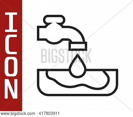Black Line Water Problem Icon Isolated On White Background. Poor Countries Environmental Public Heal