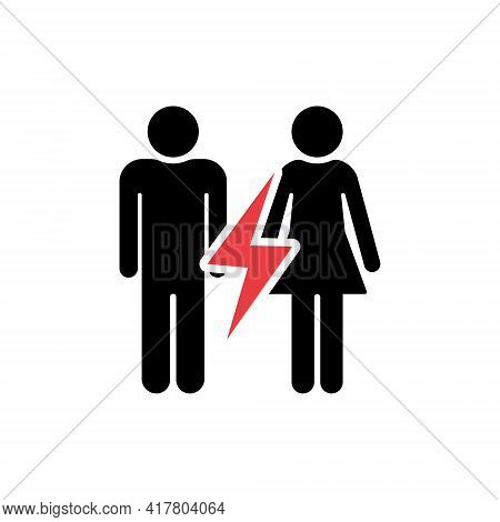 Divorced Couple. Black Silhouette Of Man And Woman With Red Lightning. Break Up Of Relationship Icon