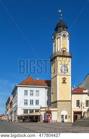 Clock Tower On Slovak National Uprising Square In Banska Bystrica, Slovakia
