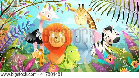 African Animals Jungle Safari Colorful Cartoon For Kids. Tropical Forest Or Savanna With Cute Baby L