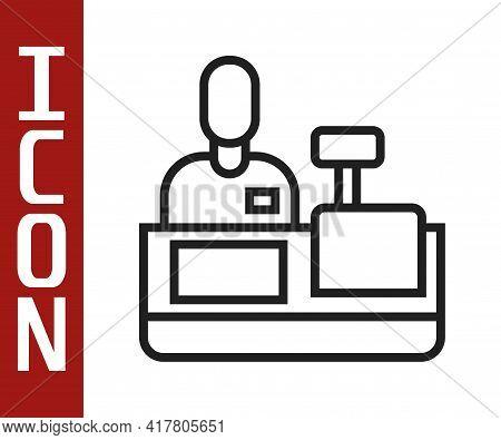 Black Line Cashier At Cash Register Supermarket Icon Isolated On White Background. Shop Assistant, C