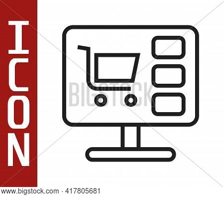 Black Line Shopping Cart On Screen Computer Icon Isolated On White Background. Concept E-commerce, E