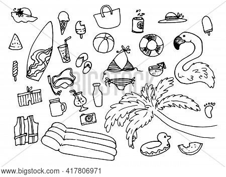 Vector Set Of Isolated Beach Holiday Elements Black Line Drawn By Hand In Doodle Style. Large Set Of