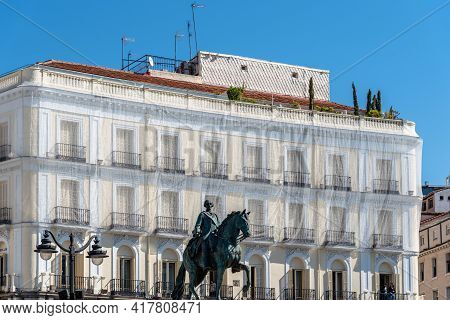 Madrid, Spain - April, 18 2021: Low Angle View Of The Statue Of The Spanish King Charles Iii In Puer