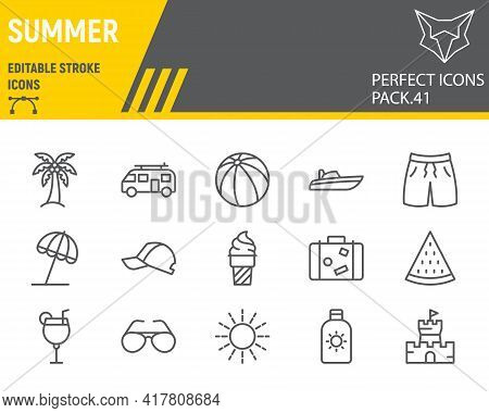 Summer Line Icon Set, Beach Collection, Vector Graphics, Logo Illustrations, Travel Vector Icons, Su