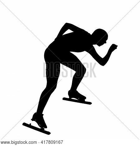 Male Speed Skater Athlete Black Silhouette On White Background