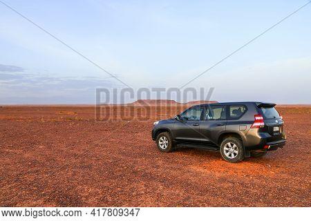Ouarzazate, Morocco - September 23, 2019: Black 4x4 Car Toyota Land Cruiser Prado 150 In The Sahara