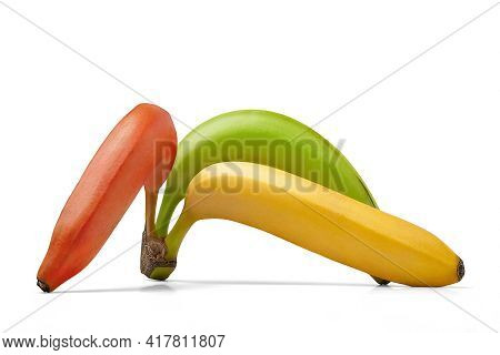Banana Isolated On White Background. Ripe Yellow, Red And Green Bananas. Bunch Of Multi-colored Bana