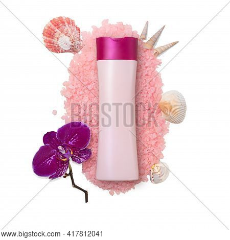 Pink Bottle Mockup On Sea Salt With Seashells, Molluscs And Orchid On White Isolated Background. Cop