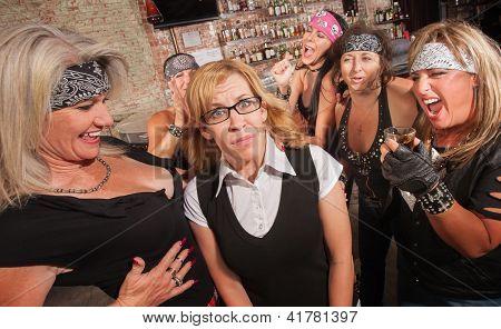 Female Gang Laughs At Nerd
