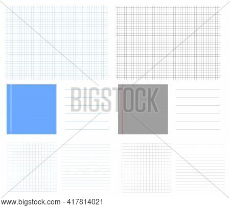 Set Empty School Grids Vector Backgrounds. Square Lined Paper Grid. Wide Horizontal Line Note Blank.