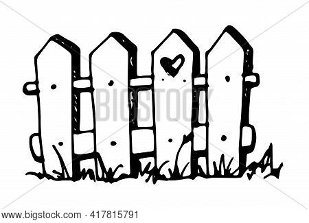 Vector Isolated Element Of A Garden Fence With Grass And A Heart In A Board With Grass At The Bottom