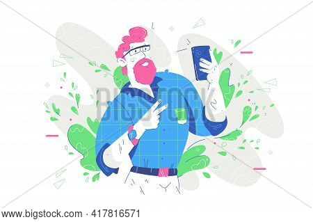 Well Dressed And Handsome Grandpa Vector Illustration. Stylish Grandfather With Smartphone Device Fl