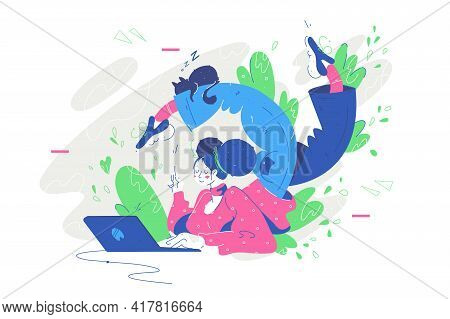 Curved Young Woman Laying With Laptop Vector Illustration. Flexible Girl In Home Outfit With Cat Usi