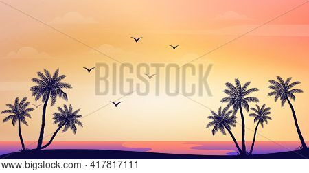 Realistic Sea Sunset On The Background Of Palm Trees - Vector Illustration