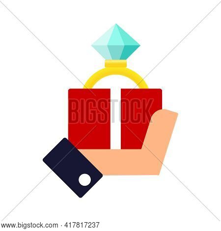 Vector Modern Flat Concept Design Featuring Hand Holding Proposal Ring In Red Box Abstract Illustrat