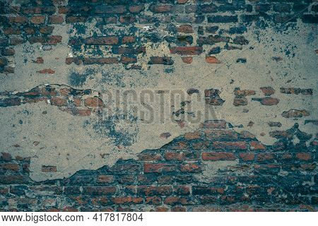 Full Frame Archival Background - Fragment Of An Old Brick Wall With Peeling Plaster, Destroyed Over