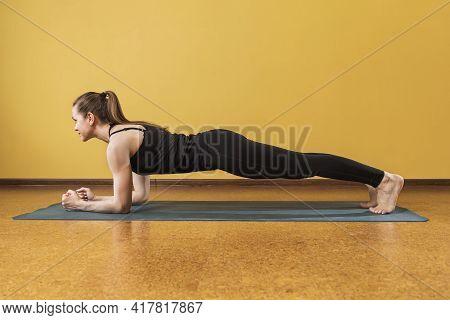 Athletic Woman Practicing Yoga, Perform Phalakasana Exercise, Plank Pose, Work Out In The Studio Nea