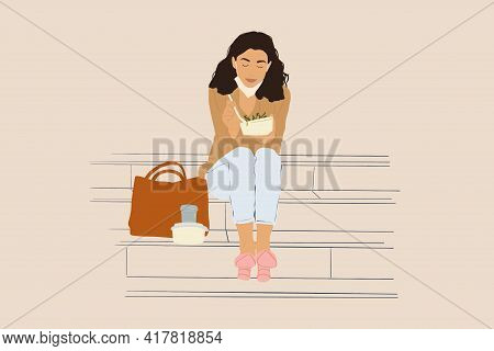 Pretty Woman Have Outdoor Lunch While Sitting On The Stairs. Healthy Meal For Takeaway. With Lowered