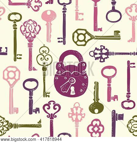 Keys Vintage Seamless Pattern, Old Keys Vector Background With Decorative Elements In Retro Style
