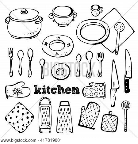 Kitchen Vector Set, Collection Of Hand Drawn Kitchen Related Objects Isolated On White Background