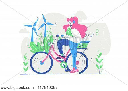 Green Energy And Wind Turbines Vector Illustration. Woman On Electric Bicycle Riding On City Roads F