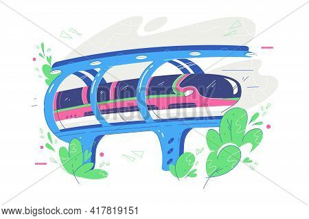 Fast Public Transport Train Vector Illustration. Transfer For People, Tunnel Over Cliff Flat Style.
