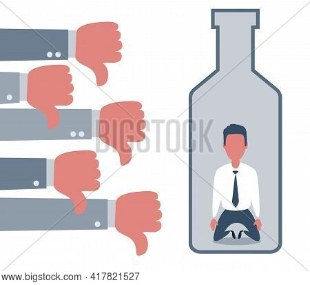 People Show Thumbs Down Dislike Or Hate For Depressed And Sad Man In A Big Bottle Of Alcohol Drink.