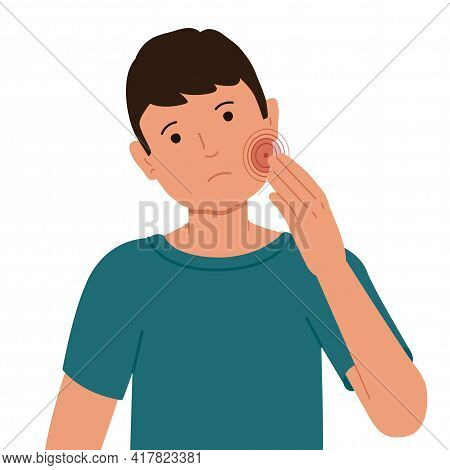 Guy With A Pain In The Cheek. Vector Illustration Of A Toothache