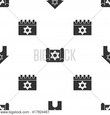 Set Jewish Synagogue, Torah Scroll And Calendar On Seamless Pattern. Vector