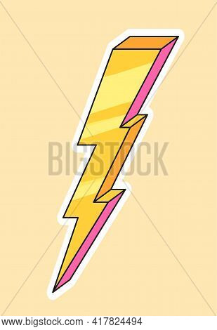Cute Fashion Patch With Yellow Lightning. Concept Of Trendy Fashion Stickers For School Girls. Flat