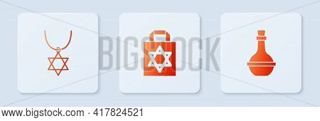 Set Shopping Bag With Star Of David, Star David Necklace On Chain And Jewish Wine Bottle. White Squa