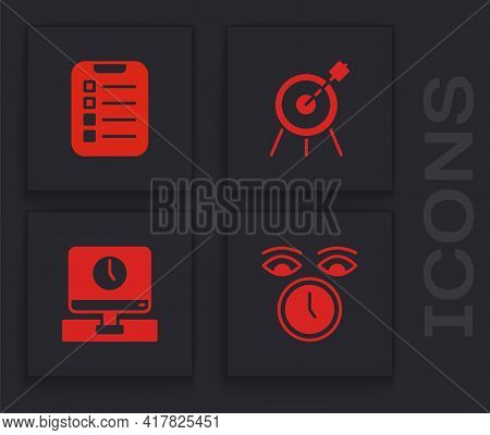 Set Clock, To Do List Or Planning, Target Sport And Monitor Time Icon. Vector