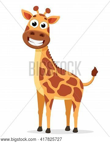 Giraffe Stands And Smiles On A White Background. The Character