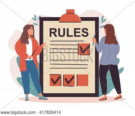 Two Female Characters Are Making A List Of Rules On Clipboard. Concept Of Regulations Checklist With
