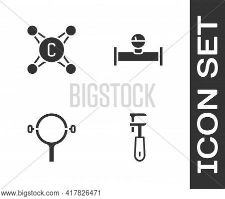 Set Pipe Adjustable Wrench, Water Tap, Filter And Industry Pipe And Manometer Icon. Vector