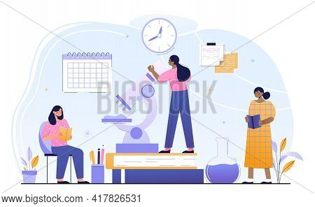 Three Female Characters Are Studying In A Classroom Together. Concept Of Study Time Management. Grou